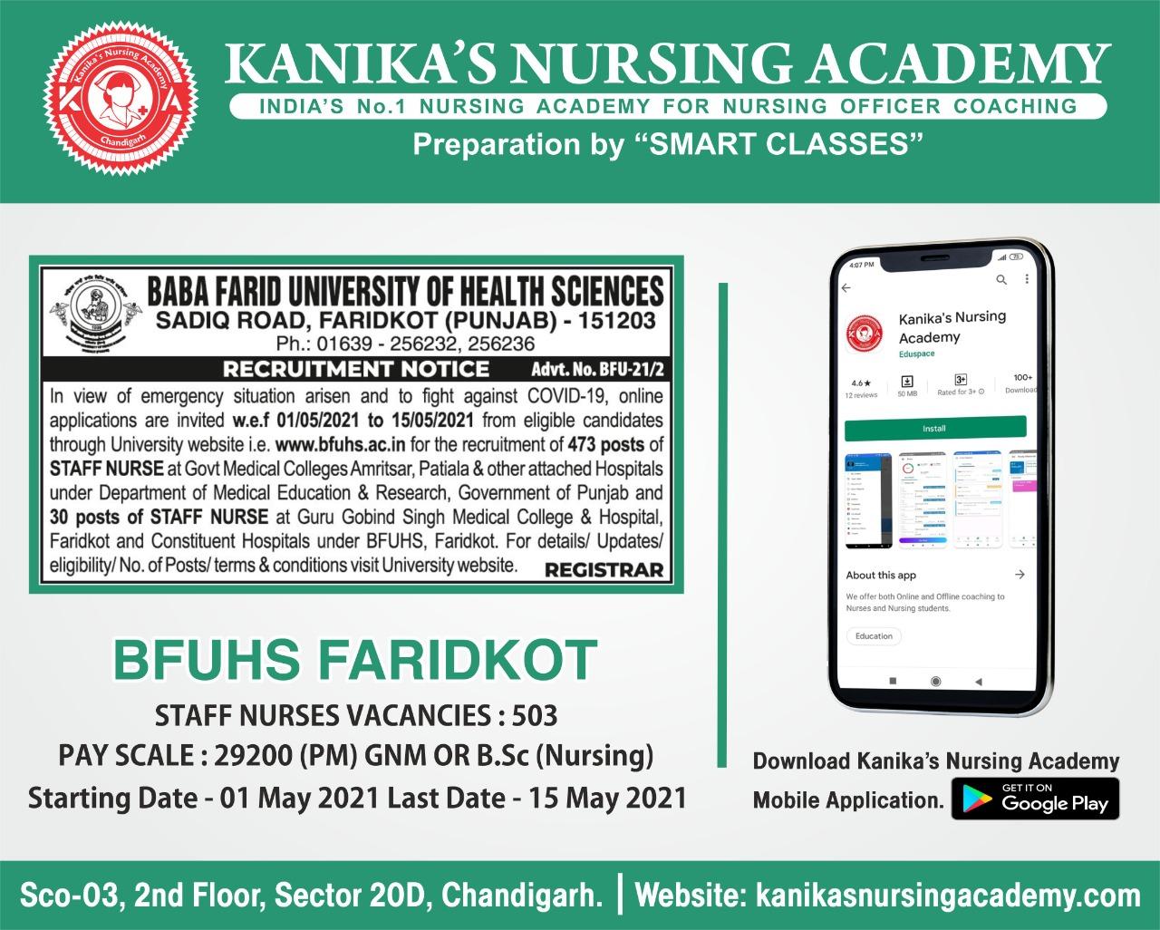 KANIKA'S NURSING ACADEMY, bfuhs staff nurses vacancies, punjab staff nurses vacancies,  staff nurses vacancies in punjab, nursing coaching in punjab, staff nurse coaching in chandigarh, nursing coaching in chandigarh