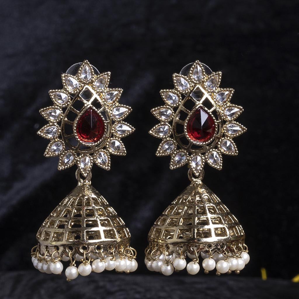 Red colour jhumka earrings online  | IndiHaute | Red colour jhumka earrings online , Red colour jhumka earrings for women , Red colour jhumka earrings for girls , Red colour jhumka earrings with price , Red colour jhumka earrings online shopping  - GL44385