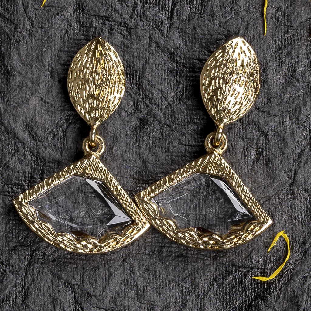 Triangle shaped simple earrings | IndiHaute | triangle shaped earrings , triangle earrings , triangle shaped mirror earrings , triangle shaped earrings online , triangle shaped earrings for women , Buy triangle shaped earrings , triangle earrings - GL43549