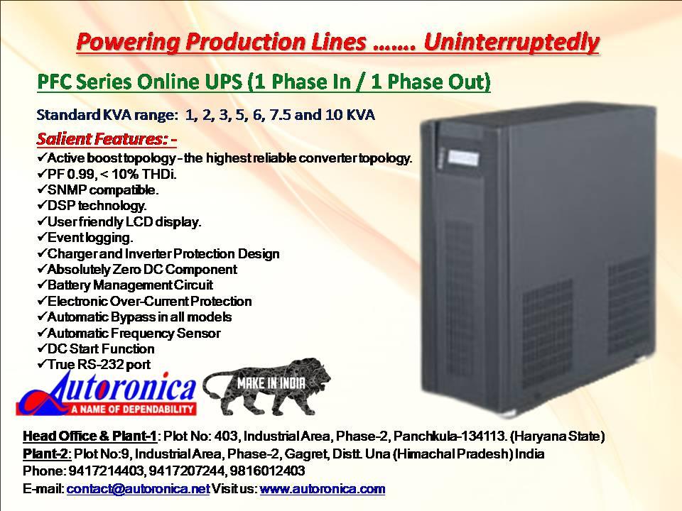 Autoronica,  Online UPS in Panipat, Single Phase Online UPS dealers  in Panipat, Online UPS brand  in Panipat, Single Phase UPS Price in Panipat