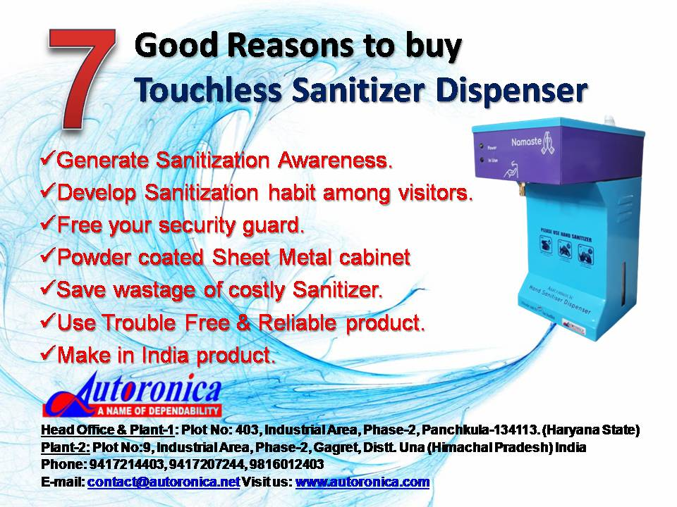 Autoronica, Automatic Sanitizer Machine manufacturer in Chandigarh, Automatic Hand Sanitizer Machine dealer in Chandigarh, Sanitizer Dispenser distributor in Chandigarh, Sanitizer Dispenser reseller in Mohali