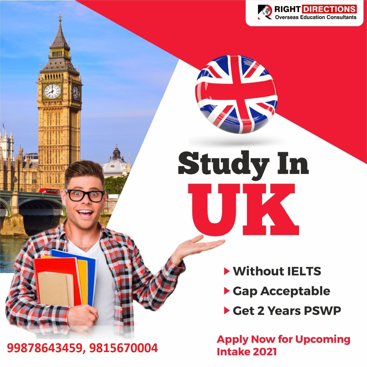Study in UK  with or without IELTS    Right Directions   study abroad consultants  in Landran,best study abroad consultants  in Landran,UK study abroad consultants  in Landran - GL99334