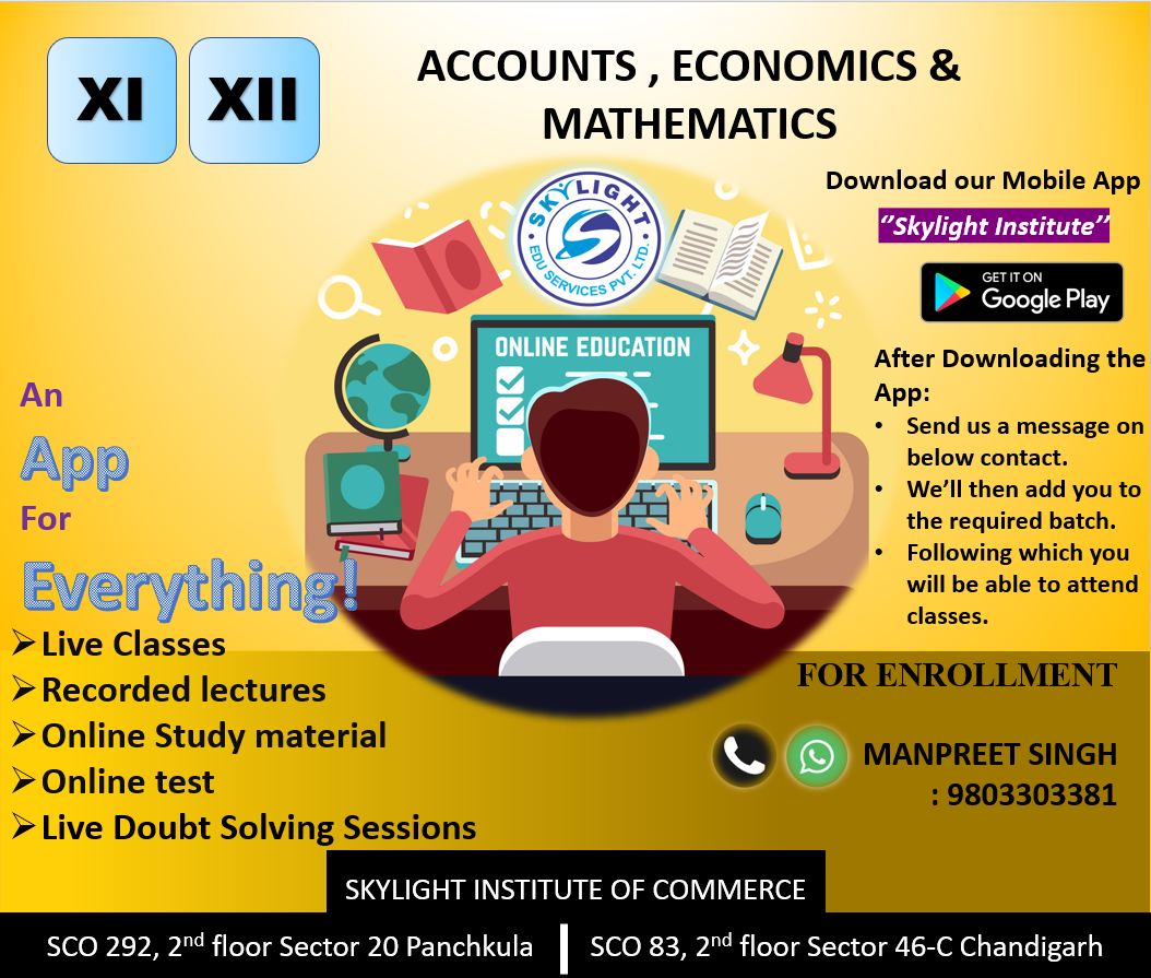 SKYLIGHT INSTITUTE OF COMMERCE, Online Classes for commerce