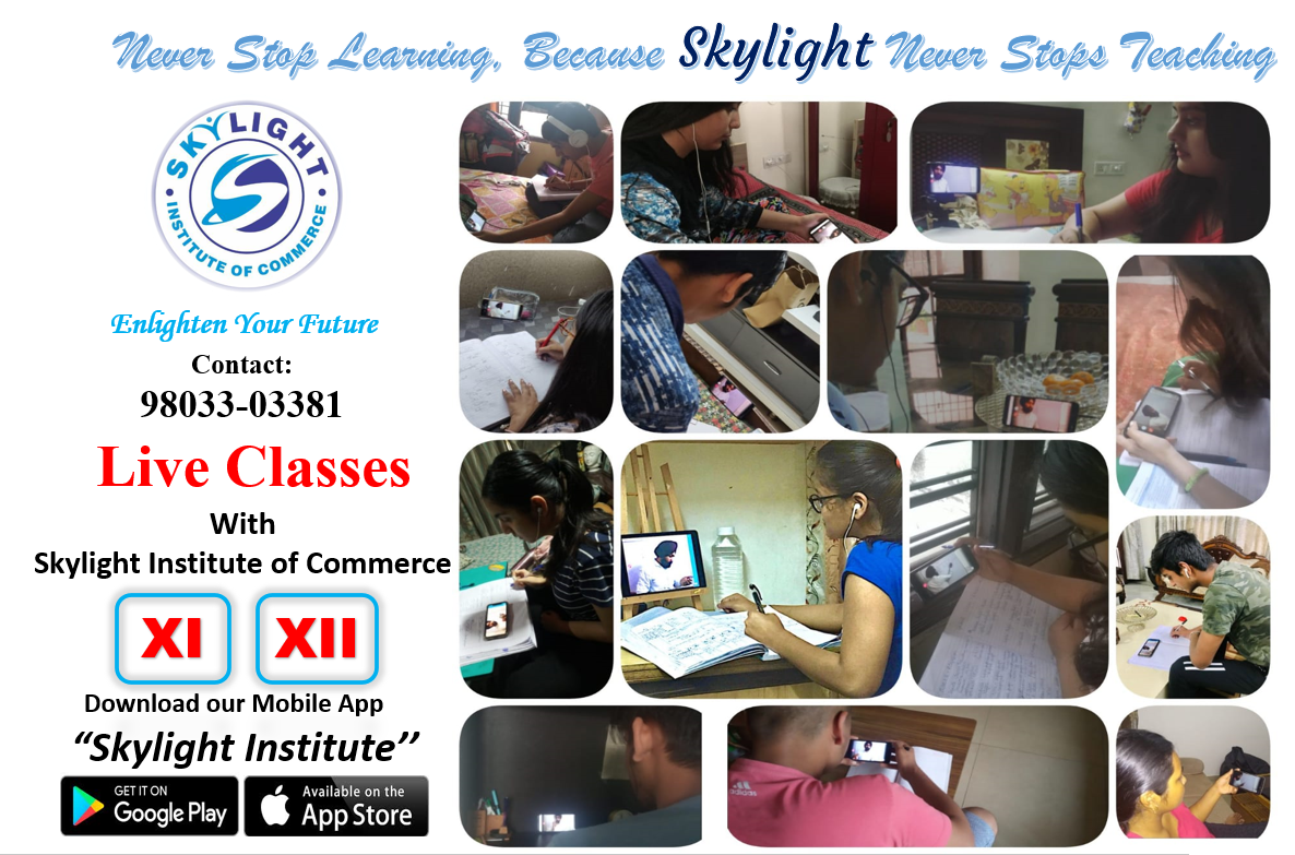 SKYLIGHT INSTITUTE OF COMMERCE, online classes for Commerce, live classes, recorded classes