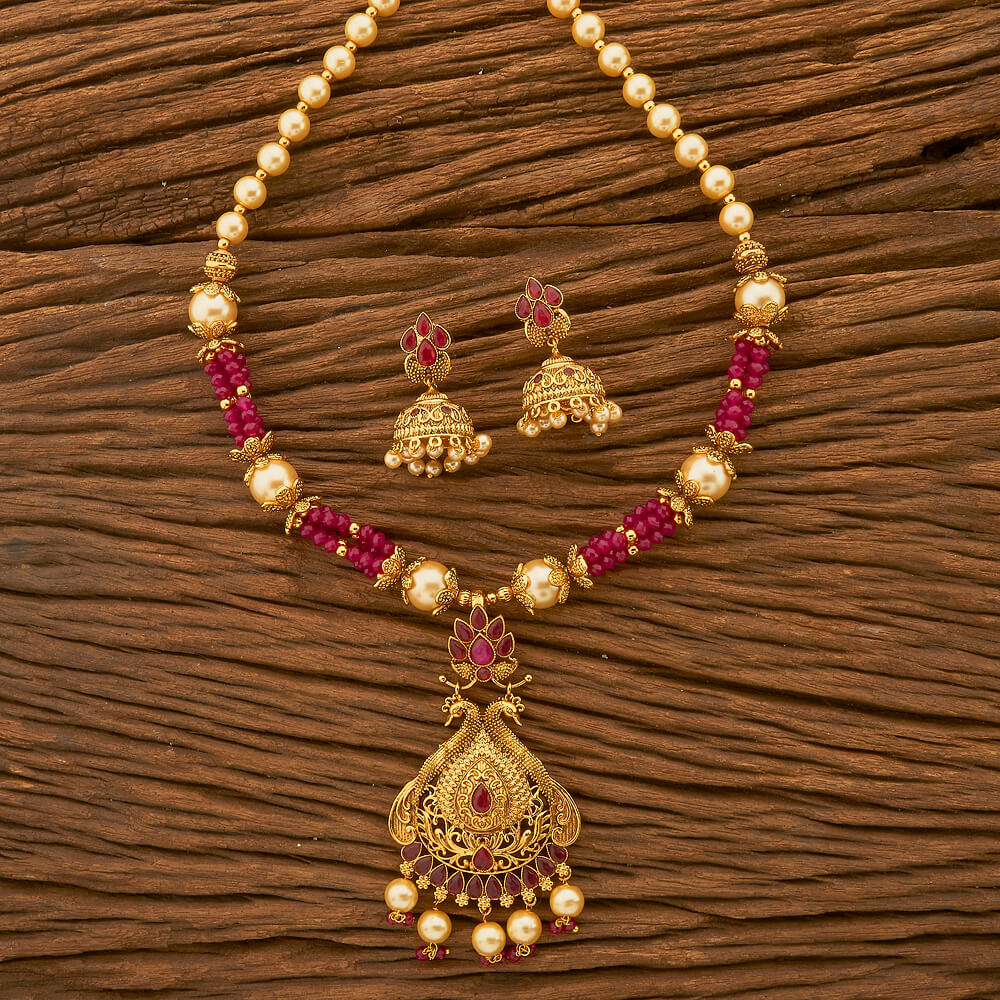 Antique Colored Peacock Pendant Set With Gold Plating | IndiHaute | Pendant set , pendant  pendant jewellery,  pendant set for women , antique pendant set, Pendant set online , pendant set in kundan,  pendant sets artificial jewellery, online pendant shopping in India - GL42864