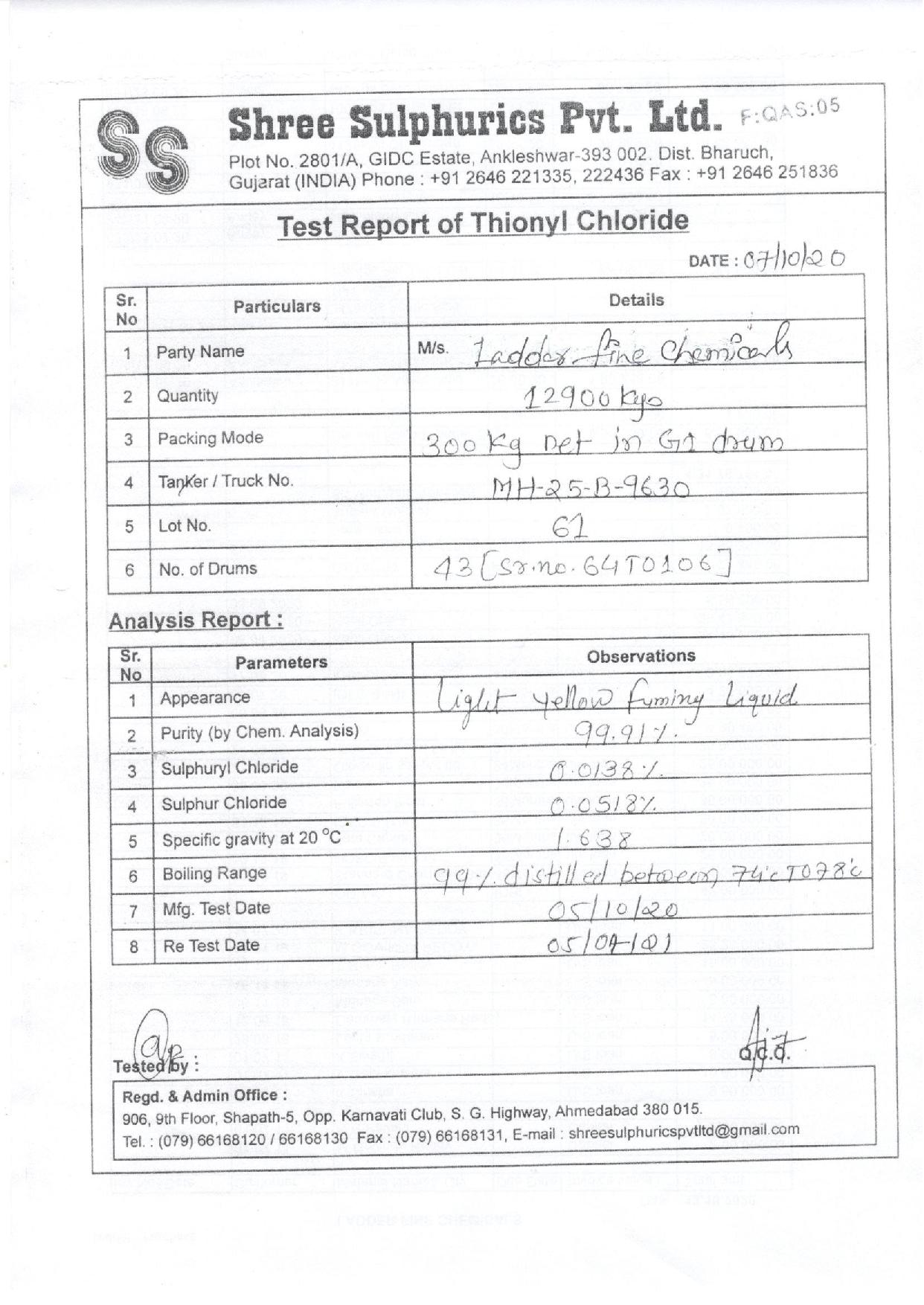 Thionyl Chloride   Ladder Fine Chemicals   Thionyl chloride, CAS 7719-09-7, THIONYL CHLORIDE SUPPLIERS FROM HYDERABAD, THIONYL CHLORIDE SUPPLIERS FROM A.P & TELANGANA - GL80774