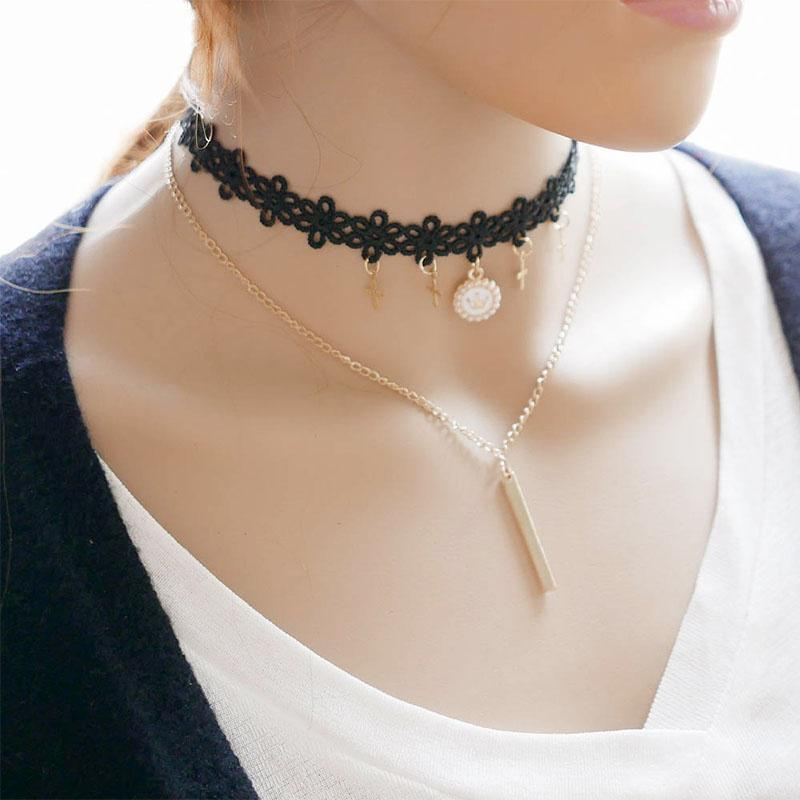 Stylish black choker necklace with chain  | IndiHaute |  black choker necklace , Black choker necklaces , Black choker necklaces for girls , Black choker  with saree , black choker with dress , Black choker with chain , black choker necklace in Toronto    - GL43426